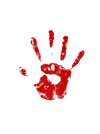 colored handprint on a white background photo