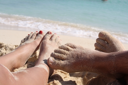 man feet: in the summer vacation and relax are
