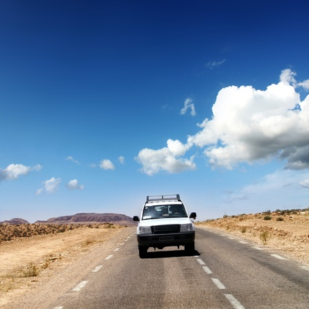 rover: travel by jeep over by desert africa Stock Photo