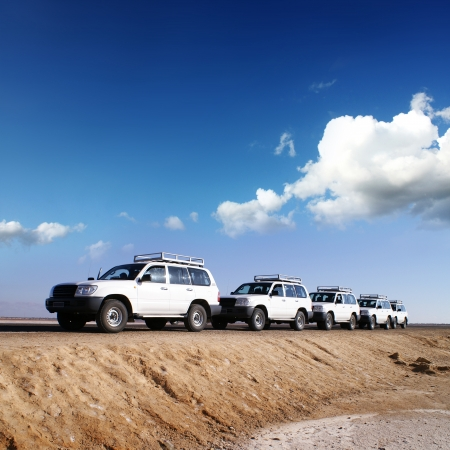 travel by jeep over by desert africa photo
