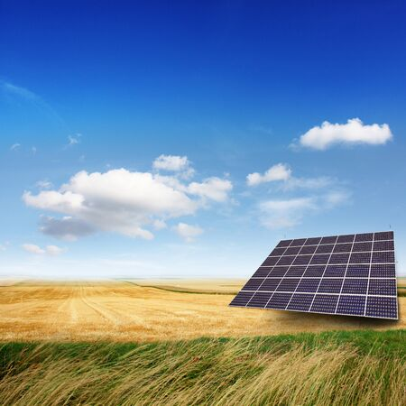 solar collector: Solar panels generate electricity on a sunny day Stock Photo