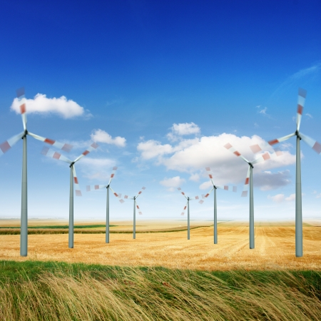 generate: Wind turbine generate electricity on a sunny day Stock Photo