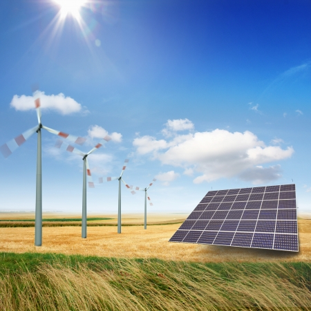 generate: Wind turbines and solar panels generate electricity