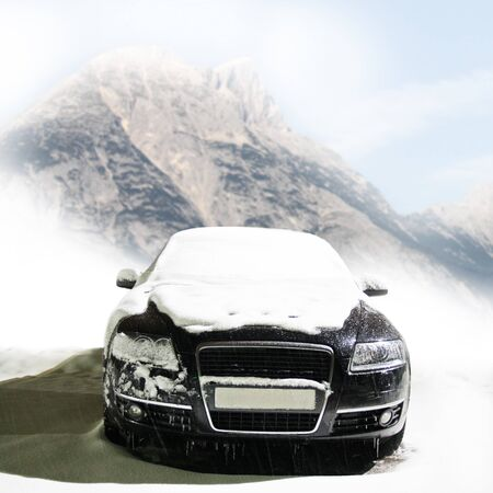 car in the winter on the road photo