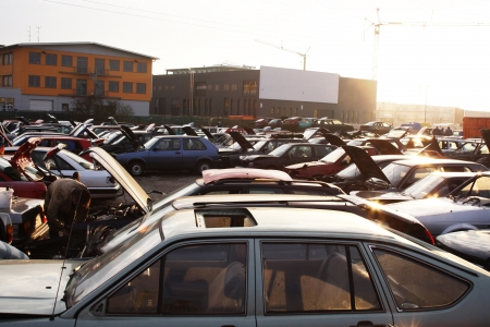 junk yard: scrap yard for car recycling Stock Photo