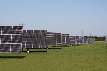 solar panels to generate electricity Stock Photo