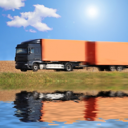 car carrier: truck on the road of Germany Stock Photo