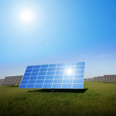solar panel house: solar panels to generate electricity Stock Photo