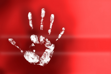 many colored handprints on a white background photo