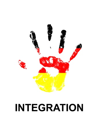 german mark: colored handprint on a white background Stock Photo