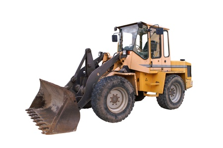 backhoe: large bulldozer at the construction site in germany Stock Photo