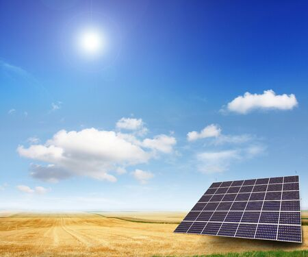 generate: Solar panels generate electricity on a sunny day Stock Photo