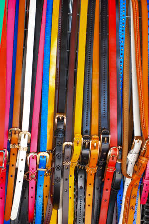 trouser: Colorful fashion belt sell in Thailand Stock Photo
