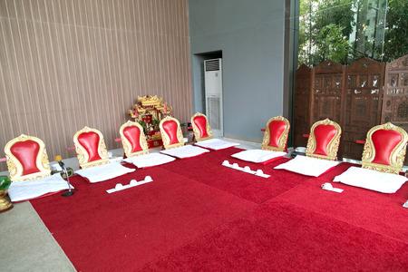 thai monk: Thai monk red seats prepared for religion ceremony,seat for thai monk.
