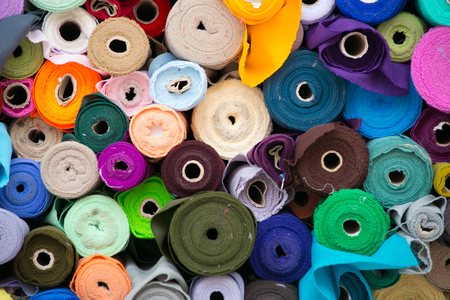 fabric cotton: Colorful roll of Fabrics.