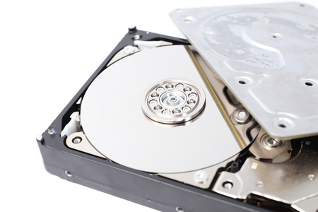 hard component: Open Inside Hard Disk Drive HDD-Computer Hardware Components.