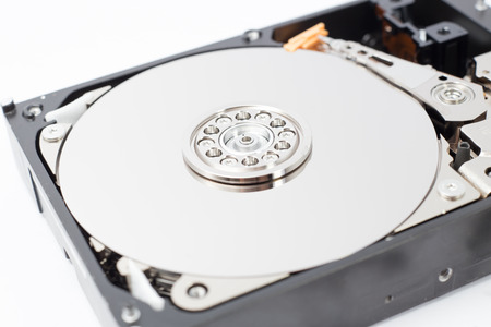 hard component: Inside Hard Disk Drive HDD-Computer Hardware Components Focus on Spindle.