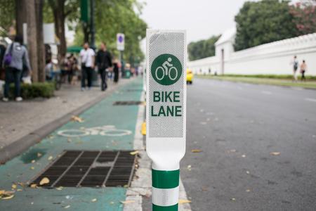 bike lane: Bike Lane Sign in Bnagkok Stock Photo