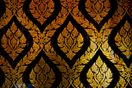 thai style: Golden Thai style line art at Wat Pho Temple Bangkok, Thailand. Stock Photo