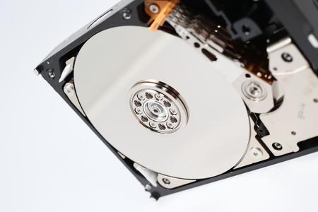 hardware: Inside Hard Disk Drive HDD-Computer Hardware Components Focus on Spindle.