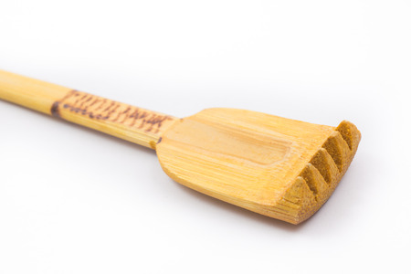 scratcher: back side scratcher help tool in Thai style made from bamboo wood. Stock Photo