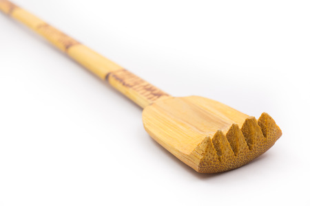 back side scratcher help tool in Thai style made from bamboo wood. Stock Photo