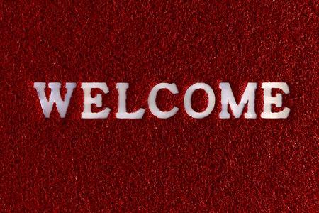 homecoming: Welcome word plastic with rubber capet colorful in red green blue.