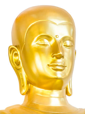 buddha face: Golden buddha face isolated on white.