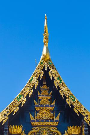 lanna: Beautiful Golden Thai Lanna Architecture: Chapel Roof of Wat Inthakhin Sadue Muang, Chiangmai, THAILAND.