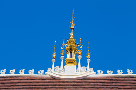 Beautiful Thai Lanna Temple Architecture: Chapel Roof of Wat Inthakhin Sadue Muang, Chiangmai, THAILAND.