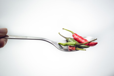 thai chili pepper: Thai Chili pepper on spoon.