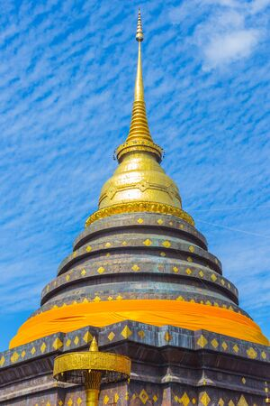 thai temple: Ancient Northern Thai Temple Pagoda of Wat Phra That Lampang Luang in Thailand. Stock Photo
