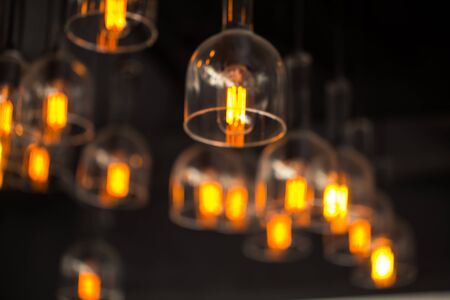 tungsten: Tungsten lamp bulb, old vintage design style. Stock Photo