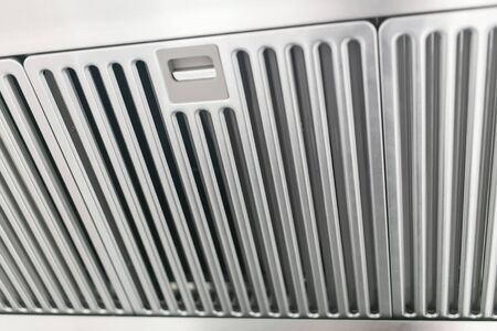 air duct: clean stainless cook hood air duct grill Stock Photo