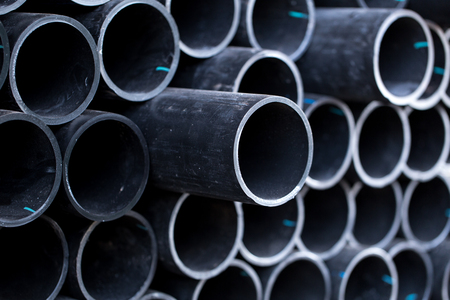 burnish: Black pipe tube Stock Photo
