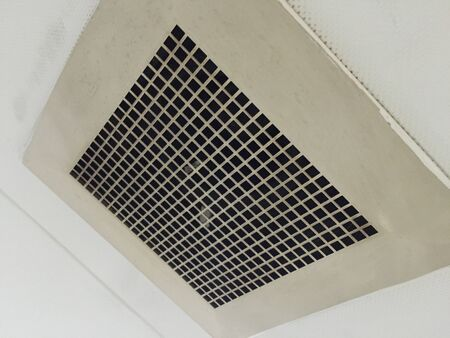 pneumoniae: Dust out from Air Duct, Danger and the cause of pneumonia in office man. Stock Photo