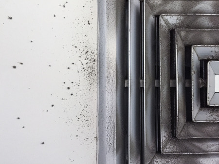 chest wall: Dust out from Air Duct, Danger and the cause of pneumonia in office man. Stock Photo