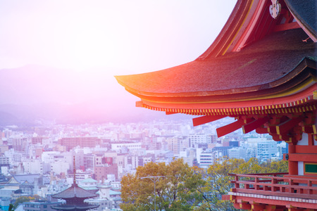 Taisan-ji Japanese Temple with Cityscape of Kyoto in the morning, Japan. Editorial