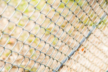 wire fence: steel wire mesh fence. Stock Photo