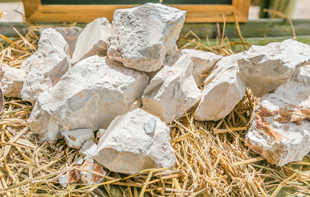 kaolin: Kaolin, China clay or White Rock Source for making pottery Earthenware and Ceramics. Stock Photo