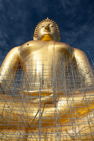 under construction large golden buddha Stock Photo