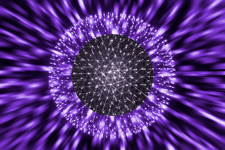 Nucleus of Atom Ball or Nuclear Explode Ray radiation light science concept.