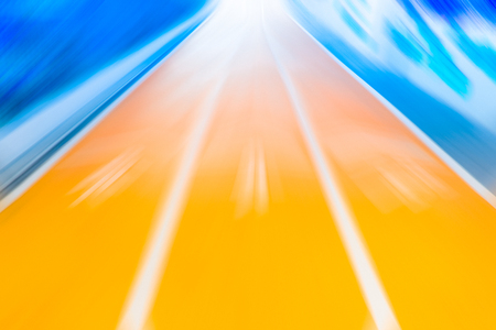 simulate: Running Track With Fast Zoom Motion Blur Super High Speed Effect Simulate Sprinter Runner Vision. Stock Photo
