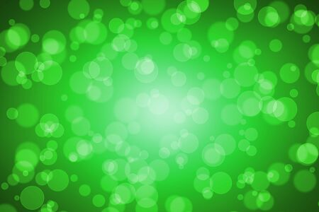 Green Color Blur Bokeh for Background, Circle round shape Abstract Graphic, Magic Light Out of Focus Effect. Stock Photo