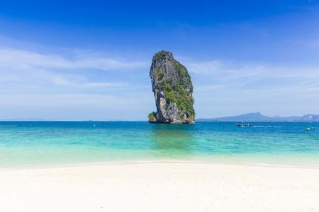 Island in the sea, seascape of Thailand ocean travel background in Summer season.