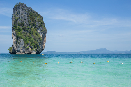 Island in the sea, seascape of Thailand ocean travel background in Summer season.