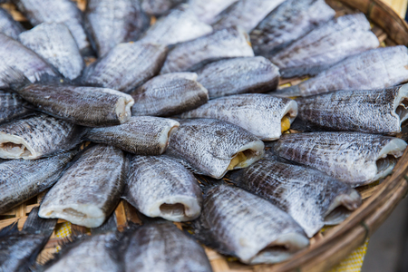 stockfish: Food preservation, Sun dry meat dried cut head fish for food in Asian.
