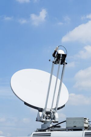 Satellite dish mounted mobile vehicle.
