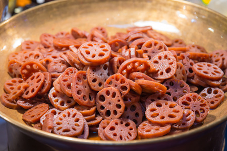 Sweet Lotus root or Water lily root ,Thai dessert and Chinese herbal. Stock Photo
