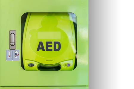 An automated external defibrillator (AED) activate heart attack machine.